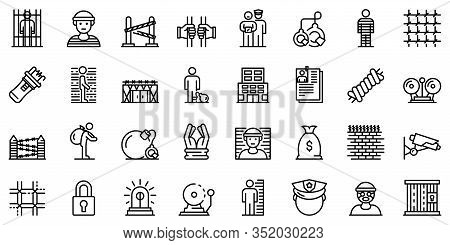 Prison Icons Set. Outline Set Of Prison Vector Icons For Web Design Isolated On White Background