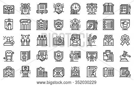 Notary Icons Set. Outline Set Of Notary Vector Icons For Web Design Isolated On White Background
