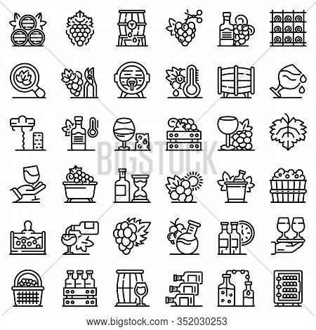 Winemaker Icons Set. Outline Set Of Winemaker Vector Icons For Web Design Isolated On White Backgrou