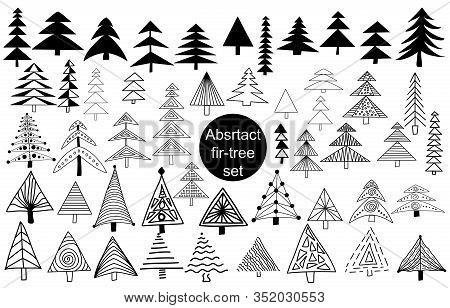 Set Of Abstract, Asymmetric Fir Trees In Scandinavian Style. Isolated Elements On White Background.