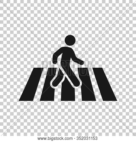 Pedestrian Crosswalk Icon In Flat Style. People Walkway Sign Vector Illustration On White Isolated B