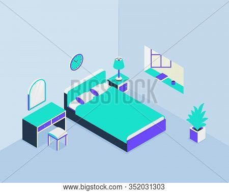 Bedroom Architecture With Bed And Closet Window With Isometric Style Vector