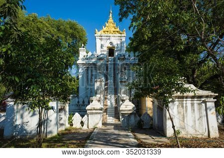 The Relic Tower inside Mandalay royal Palace compound, Myanmar. Traditional burmese architecture with three-tiered roof (pyatthat)
