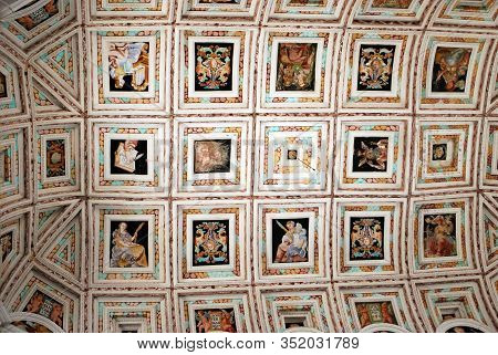 Ubeda, Spain - July 28, 2008 - Ceiling Detail Showing Multiple Individual Scenes Inside The Hospital