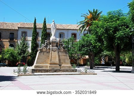 Religious Statue In The First Of May Square (plaza De 1. De Mayo), Ubeda, Jaen Province, Andalucia,