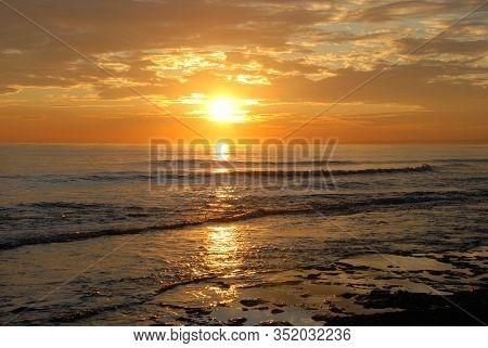 Mediterranean Coastline Looking Towards Marbella At Sunset, Puerto Cabopino, Marbella, Costa Del Sol