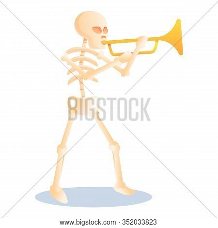Skeleton Playing Trumpet Icon. Cartoon Of Skeleton Playing Trumpet Vector Icon For Web Design Isolat
