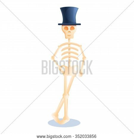 Skeleton Top Hat Icon. Cartoon Of Skeleton Top Hat Vector Icon For Web Design Isolated On White Back