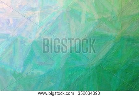 Abstract Illustration Of Blue, Green Bristle Brush Oil Paint Background