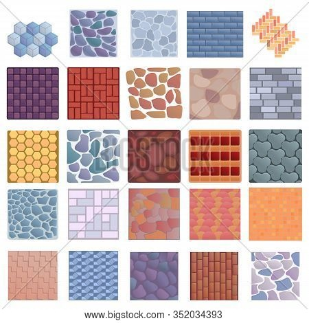 Paving Icons Set. Cartoon Set Of Paving Vector Icons For Web Design