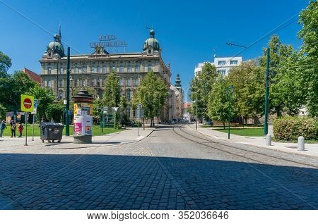 Pilsen, Czech Republic - May 26, 2018: Pilsen Town Street With Park View And Hotel Continental In Hi