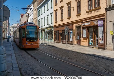 Pilsen, Czech Republic - May 26, 2018: Modern Tramway On Historic Streets Of Pilsen Town In Czech Re