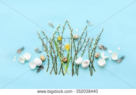 Easter Greeting Card Or Banner Template Concept, Holiday Botanical Flat Lay Arrangement
