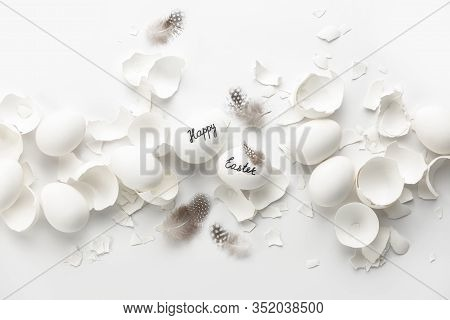 Easter Holiday Greeting Card Leaflet Or Banner Template Concept, Top Down View Of White Eggs And Cle