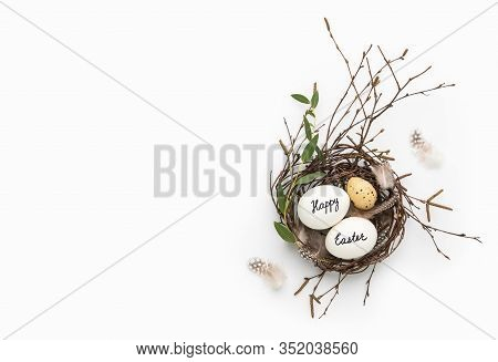 Easter Greeting Card  Or Festive Dinner Or Party Invitation Template With Blank Space For A Text, Ov