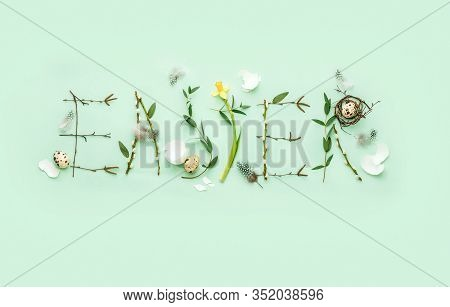 Easter Holiday Banner Or Flat Lay Botany Natural Floral Decorative Typography Greeting Concept