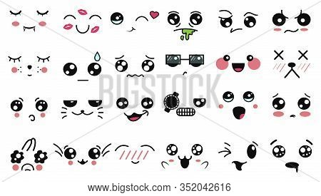Kawaii Cute Faces. Funny Cartoon Japanese Emoticon In In Different Expressions. Expression Anime Cha