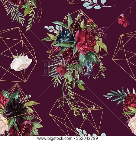 Watercolor Seamless Pattern. Floral Geometric Illustration - Burgundy Flowers Bouquet With Gold Geom