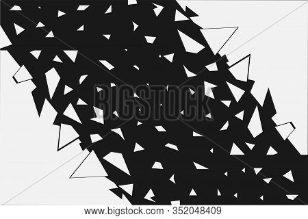 The Abstract Background Is Collapsing. Fragments In The Form Of Geometric Shapes, Triangles Fly In D