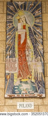 Nazareth, Israel January 26, 2020; A Mosaic Donated By The People Of Poland, One Of The Mosaics Offe