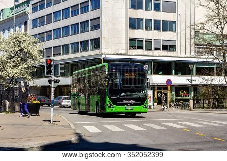 Malmö, Sweden - April 22 2019: One Of The First Fully Electric Buses In Traffic On Route 7 In Malmö.