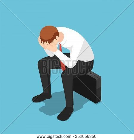Flat 3d Isometric Depressed Businessman Facepalm Or Cover His Face By Hands Sit On Business Briefcas