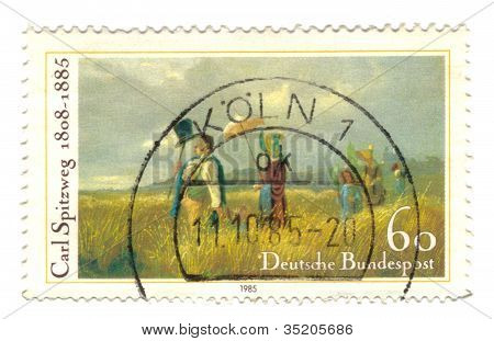 Germany - Circa 1985: Stamp Printed In Germany, Shows The Sunday Walk, By Carl Spitzweg, Circa 1985