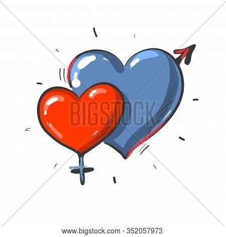 Two Hearts Masculine And Feminine Gender, Blue And Red Heart Shapes Isolated On White