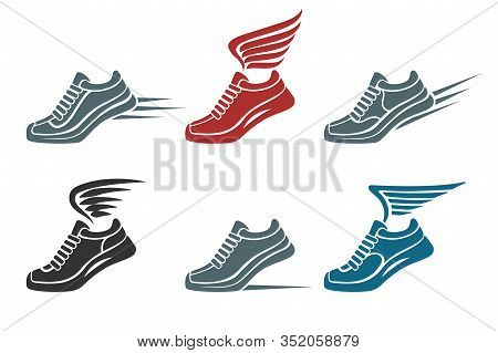 Set Of Speed Running And Winged Sport Shoes Emblem Or Icon. Vector Illustration.