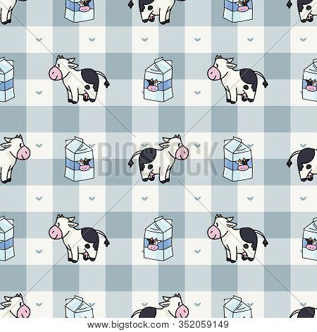 Hand Drawn Dairy Cute Cow And Milk Carton Seamless Vector Pattern. Kawaii Horned Livestock Mammal. D
