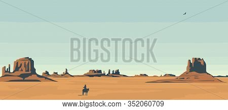 Vector Landscape With American Prairies And A Silhouette Of A Cowboy On A Horse. A Lone Rider In The