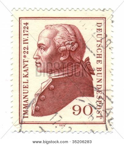 Germany- Circa 1974: A Stamp Printed By Germany, Shows Portrait Immanuel Kant, Circa 1974
