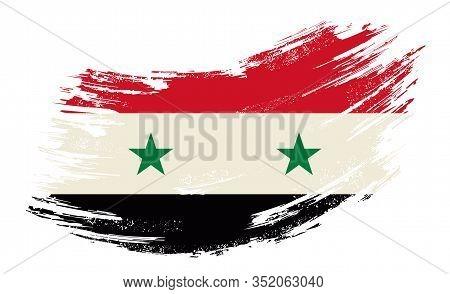 Syrian Flag Grunge Brush Background. Vector Illustration.
