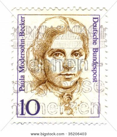 Germany - Circa 1988: Stamp Printed By Germany, Shows Portrait Of Paula Modersohn-becker (1876-1907)