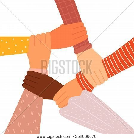 Concept Of Team Work. Friends With Stack Of Hands Showing Unity And Teamwork, Top View. People Putti