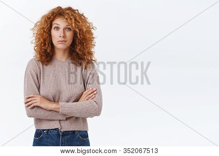 Skeptical, Unsure Caucasian Redhead Curly Woman Looking With Disbelief And Judgement, Dont Buy It, T