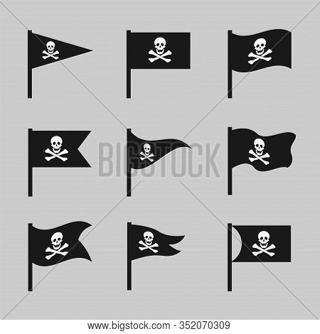 Jolly Roger Flag. Scull And Bones Sign, Pirates Symbol