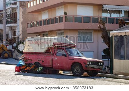 Patras, Greece - February 7, 2019:  The Typical Old Retro Red Datsun 1500 Pickup Car Of A Local Gree