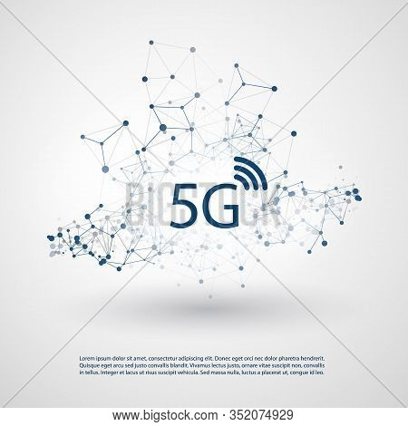 5g Network Label With Wireframe Mesh - High Speed, Broadband Mobile Telecommunication And Wireless I