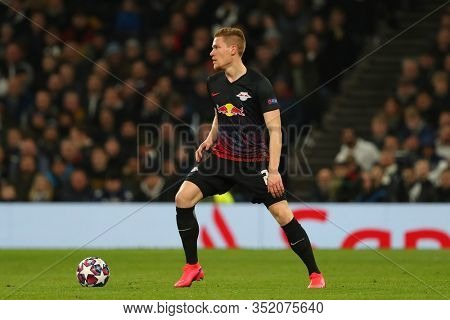 LONDON, ENGLAND. 19 FEBRUARY 2020. Defender Marcel Halstenberg Of Leipzig during the UEFA Champions League match between Tottenham Hotspur and RB Leipzig, at The Tottenham Hotspur Stadium,