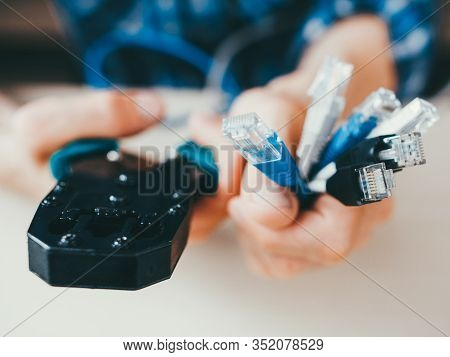 Network Connection Service. Rj45 Cables, Pliers. Professional Engineer Tools.