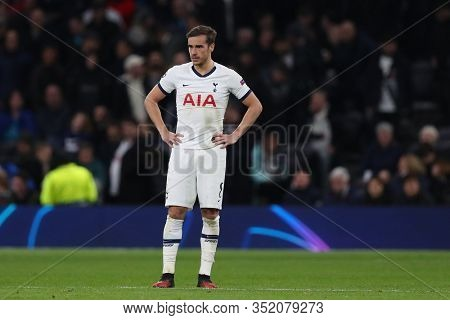 LONDON, ENGLAND. 19 FEBRUARY 2020. Midfielder Harry Winks of Tottenham during the UEFA Champions League match between Tottenham Hotspur and RB Leipzig, at The Tottenham Hotspur Stadium, London England