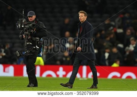 LONDON, ENGLAND. 19 FEBRUARY 2020. Manager Julian Nagelsmann Of Leipzig during the UEFA Champions League match between Tottenham Hotspur and RB Leipzig, at The Tottenham Hotspur Stadium, London
