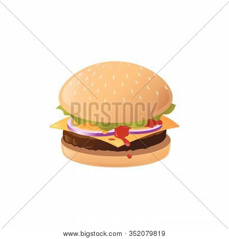 Burger Beef, Cheeseburger With Lettuce Tomato, Onion, Cheese ,beef And Sauce, Vector Illustration.