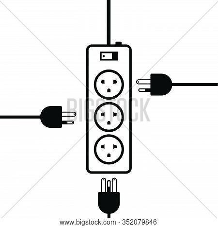 Outlet Multiple Socket Electric Power Plugs, Plug Or Unplugged Of Electrictcity Peripheral, Flat Ico