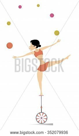 Equilibrist Woman On The Unicycle Juggles Balls Illustration. Equilibrist Young Woman Balances On Th