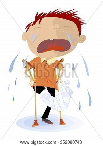 Injured Crying Boy And Pool Of Tears Illustration. Crying Boy With Bandage On The Leg And Crutches S