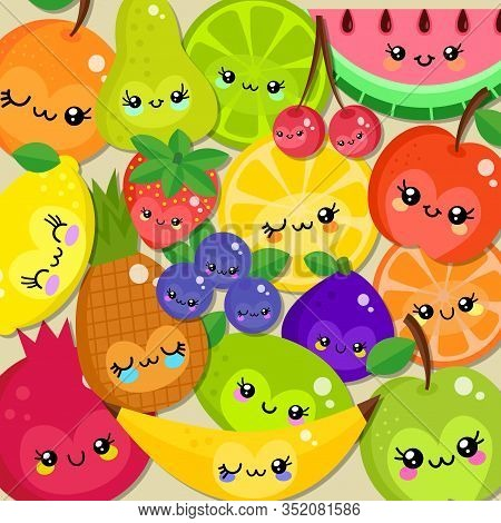 A Group Of Colorful Cartoon Pieces Of Fruit With Happy Kawaii Style Faces.