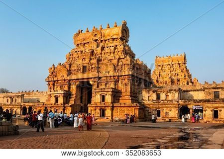 TANJORE, INDIA - MARCH 26, 2011: Famous Brihadishwarar Temple in Tanjore (Thanjavur), Tamil Nadu, India. UNESCO World Heritage Site and religious pilgrimage site Greatest of Great Living Chola Temples