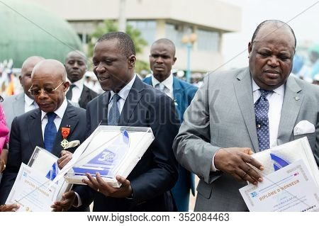 Abidjan, Ivory Coast - August 3, 2017: Graduation And Gift To The Authorities And Godfather At The E
